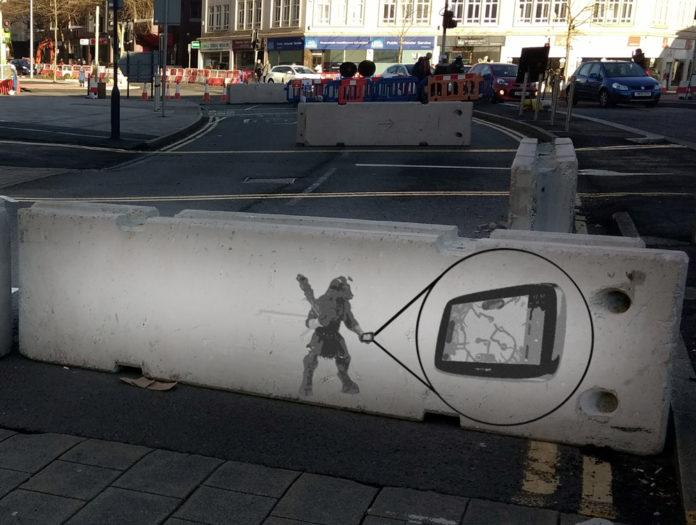 Minotaur, Banksy, Swansea, Roadworks